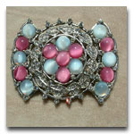 Deco Pink & Blue Brooch