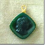 Green Glass Cameo