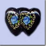 Black Double Blue Heart
