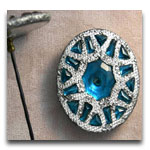 Aqua Glass Hatpin with Pierced Setting