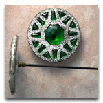 Green glass hatpin in Metal Setting